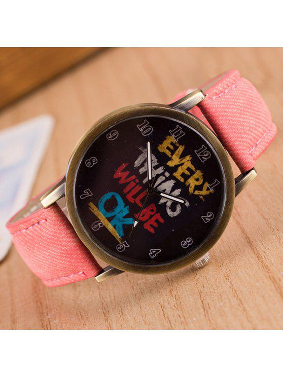 online Vintage Graffiti Pattern Quartz Watch - PINK
