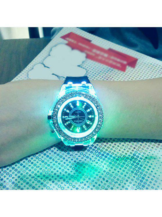 online Rhinestone Silicone Quartz Watch - BLACK
