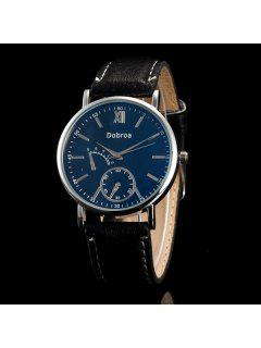 Faux Leather Embellished Analog Quartz Watch - Blue