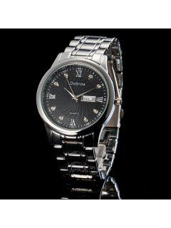 Steel Rhinestone Roman Numerals Quartz Watch - Black