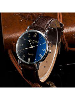 Artificial Leather Roman Numerals Quartz Watch - Coffee