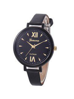 Roman Numerals Geometric Quartz Watch - Black