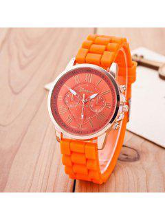 Roman Numerals Silicone Quartz Watch - Orange