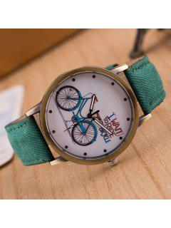 Bicycle Pattern Artificial Leather Quartz Watch - Green