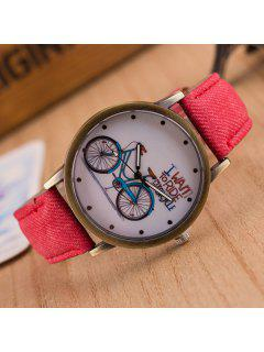Bicycle Pattern Artificial Leather Quartz Watch - Red
