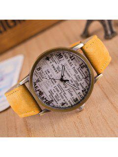 Artificial Leather Graffiti Pattern Quartz Watch - Yellow