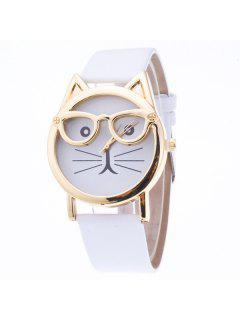 PU Leather Kitten Quartz Watch - White