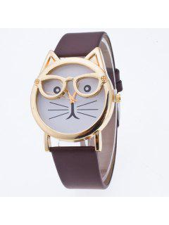 PU Leather Kitten Quartz Watch - Coffee