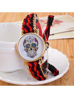 Devil Skull Crucifix Braid Bracelet Watch - Black