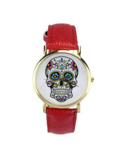 Crucifix Skull Flower Halloween Quartz Watch - Red