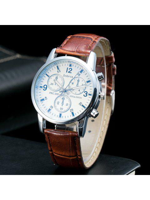ladies Analog Dial Plate PU Leather Quartz Watch - COFFEE  Mobile