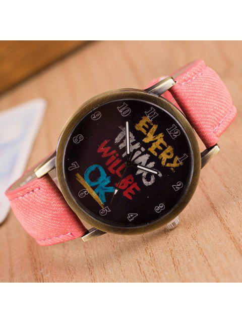 Vintage Graffiti Quartz Montre - ROSE PÂLE  Mobile