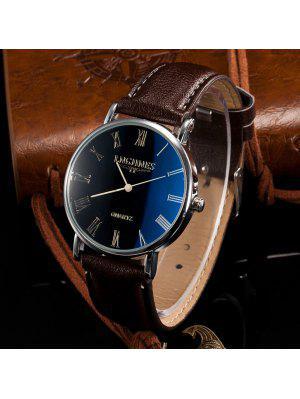 Reloj de Cuarzo de Cuero Artificial de Cuadros Romanos