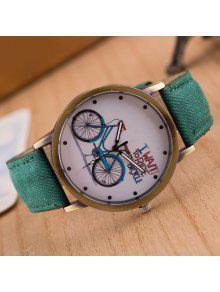 Reloj Cuarzo Cuero Artificial Diseño Bicicleta  - Verde