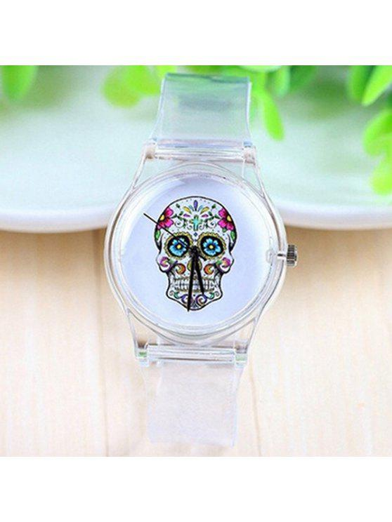 new Crucifix Skull Flower Halloween Plastic Watch - WHITE