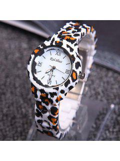 Leopard Print Roman Numerals Quartz Watch - Leopard
