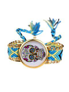 Crucifix Skull Flower Halloween Braid Watch - Blue