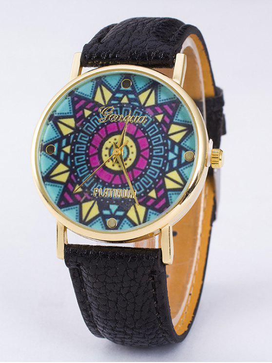 GENEVA Platino Rompecabezas Estampado de Reloj de Cuarzo - Negro