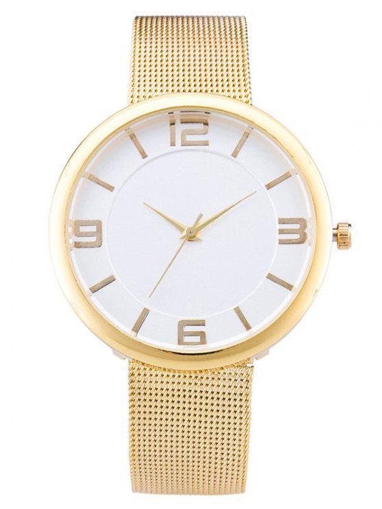 Superficie Suave Cinturón de Malla Tabla de Reloj de Cuarzo - Champán