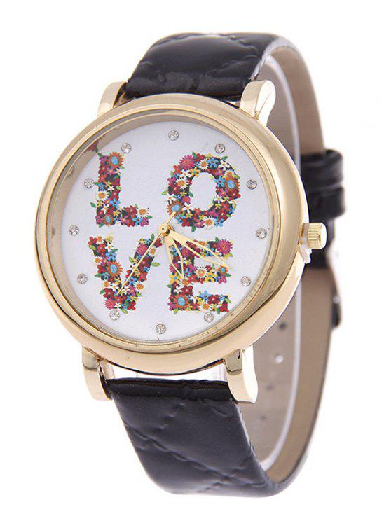 ladies PU Leather Skew Lattice Floral LOVE Quartz Watch - BLACK