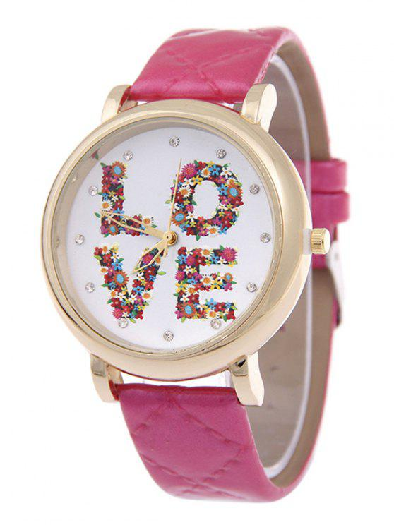 new PU Leather Skew Lattice Floral LOVE Quartz Watch - PEACH RED