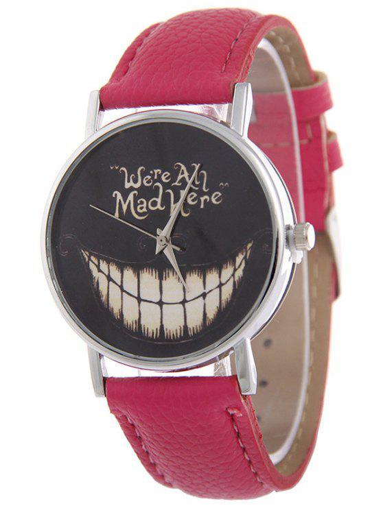 Montre de quartz en cuir faux à motif de sourire de Toussaint - rose