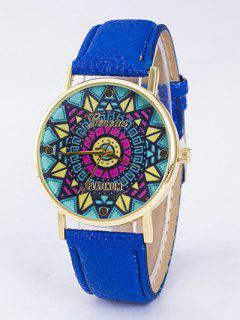 GENEVA Puzzle Print Platinum Quartz Watch - Blue