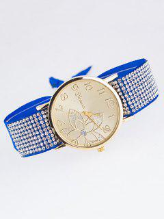 Ribbon Rhinestone Flower Quartz Watch - Royal Blue