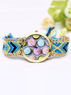 Handcraft Cupcake Print Braid Watch - Royal Blue
