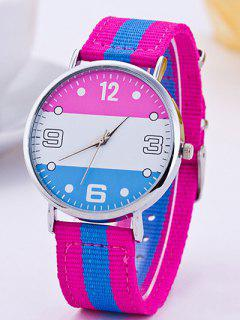 Color Block Stripe Quartz Braid Montre - Rose
