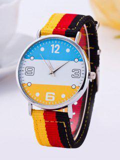Color Block Stripe Quartz Braid Watch - Yellow