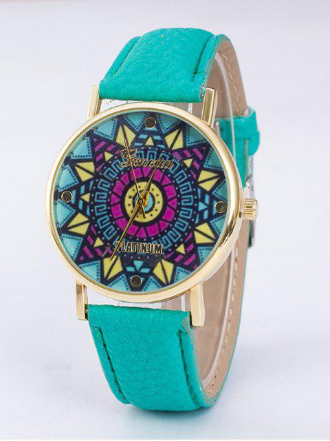 chic GENEVA Puzzle Print Platinum Quartz Watch - APPLE GREEN  Mobile