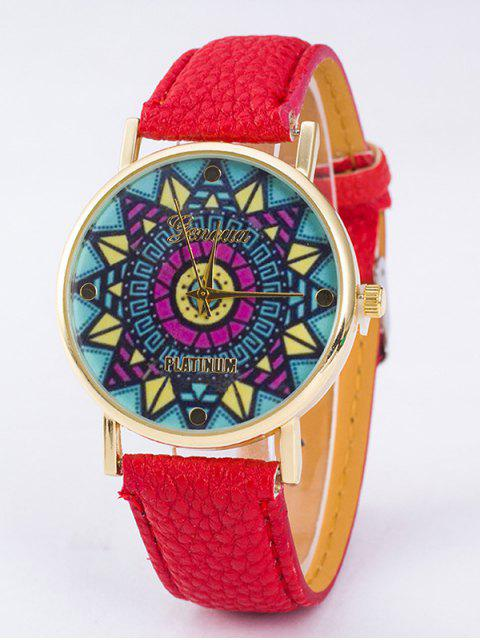 fancy GENEVA Puzzle Print Platinum Quartz Watch - RED  Mobile