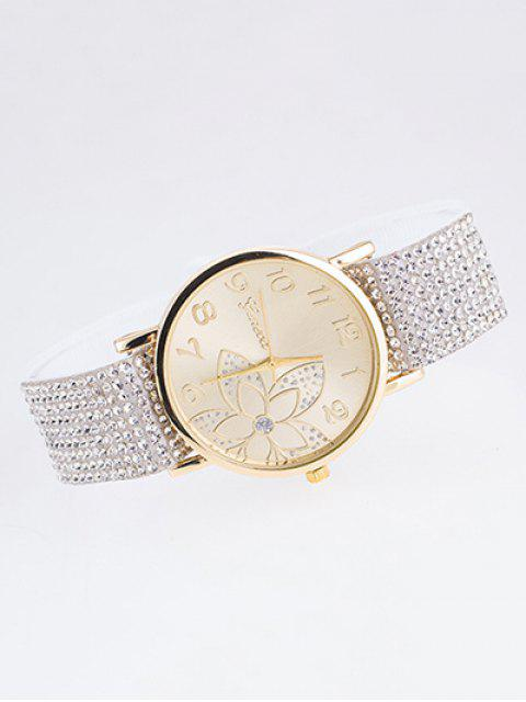 online Ribbon Rhinestone Flower Quartz Watch - WHITE  Mobile
