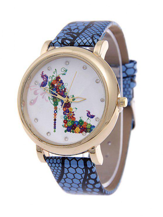 hot Flower Rhinestone High Heel Quartz Watch - BLUE