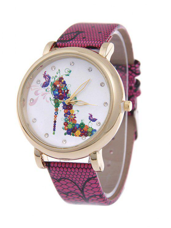 outfit Flower Rhinestone High Heel Quartz Watch - ROSE RED