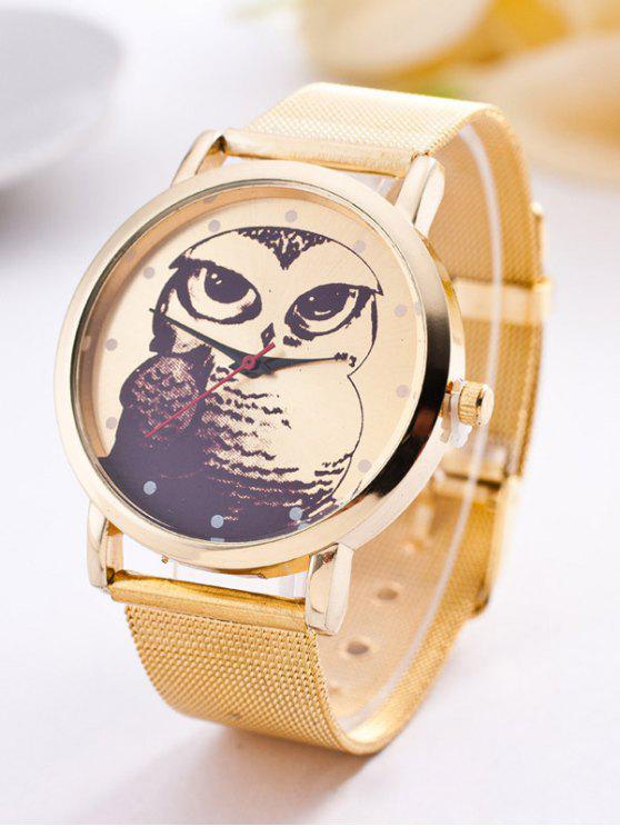 trendy Steel Band Owl Quartz Watch - GOLDEN