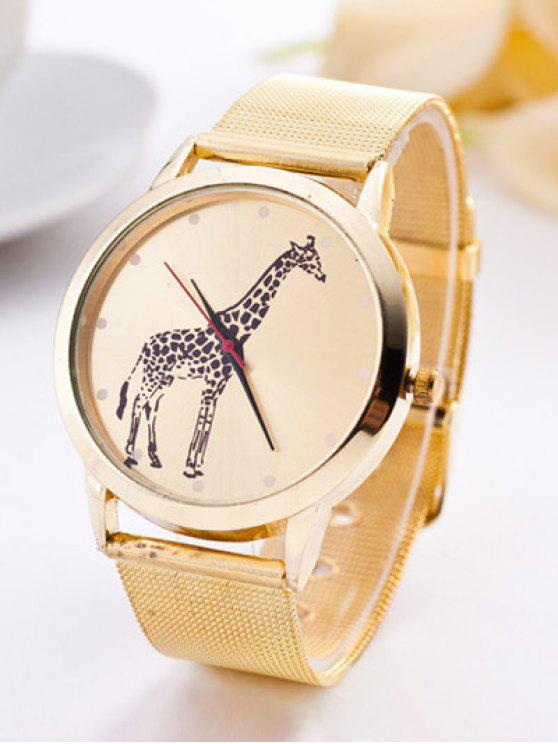 fashion Steel Band Giraffe Quartz Watch - GOLDEN