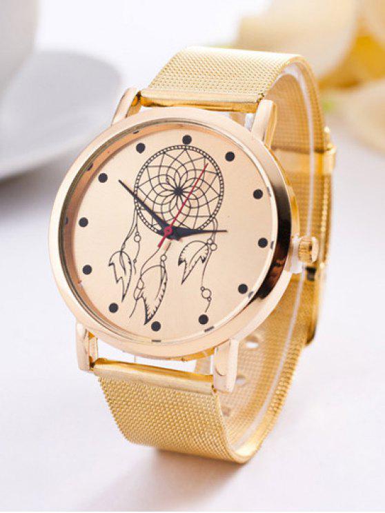 Banda de Acero Círculo Floral de Reloj de Cuarzo - Dorado