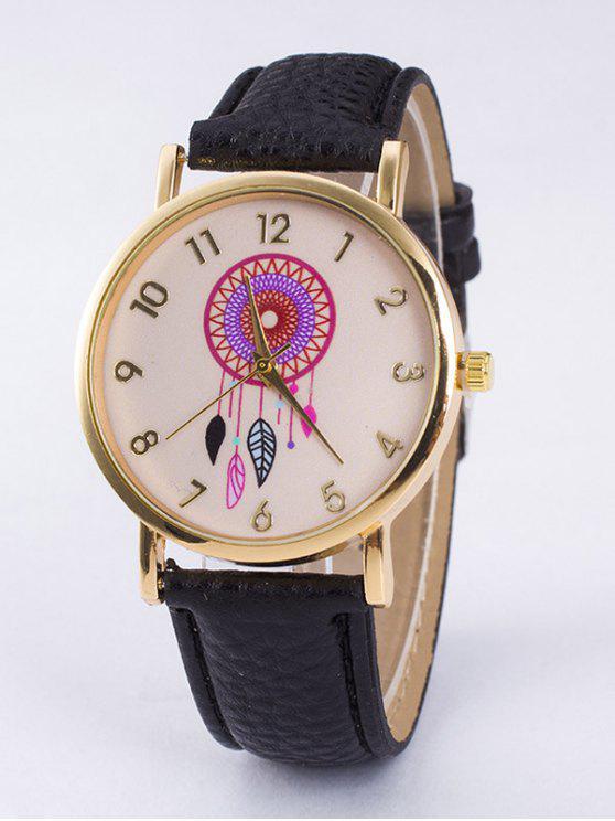 shop Bohemian Leaf Faux Leather Quartz Watch - BLACK