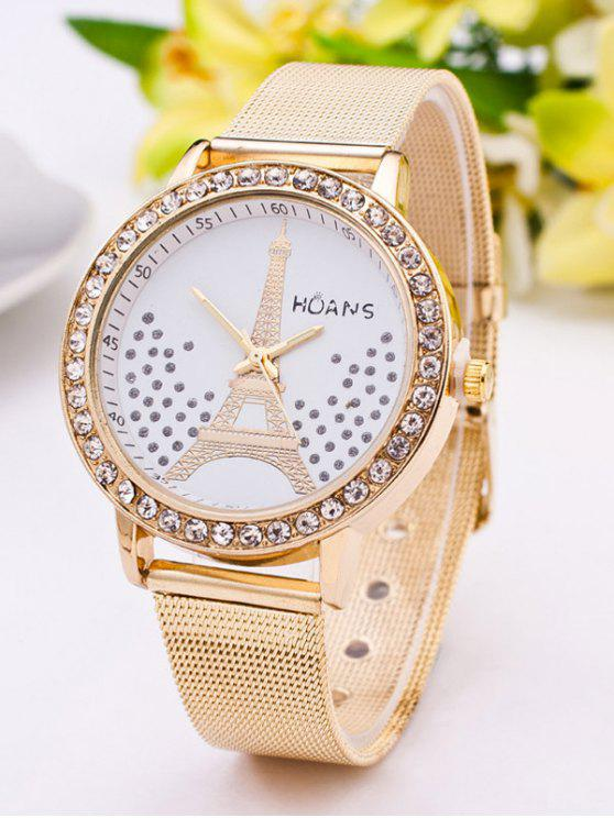 fashion Rhinestone Dial Plate Eiffel Tower Watch - GOLDEN