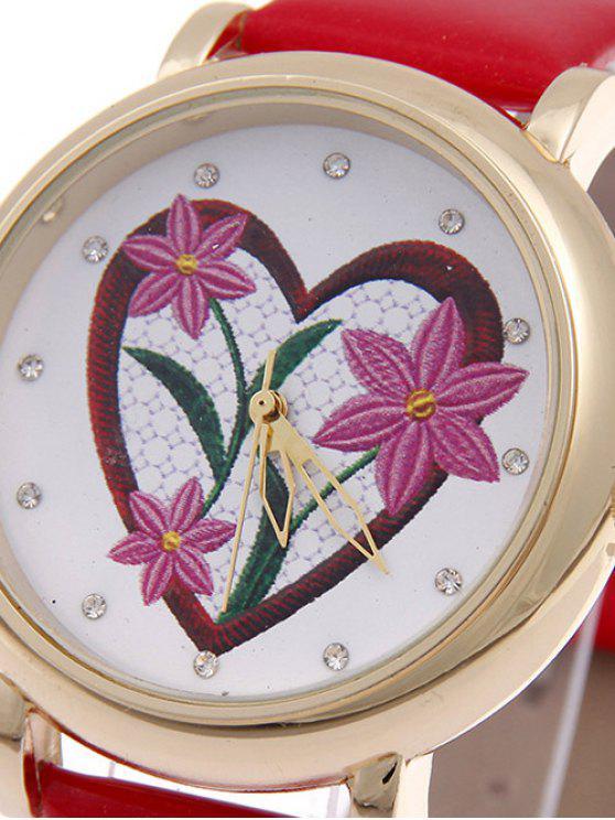 women's Rhinestone Floral Heart Quartz Watch - RED