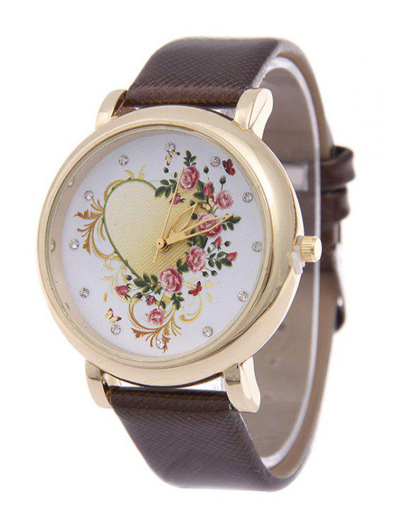 best Rhinestone PU Leather Floral Heart Watch - BROWN
