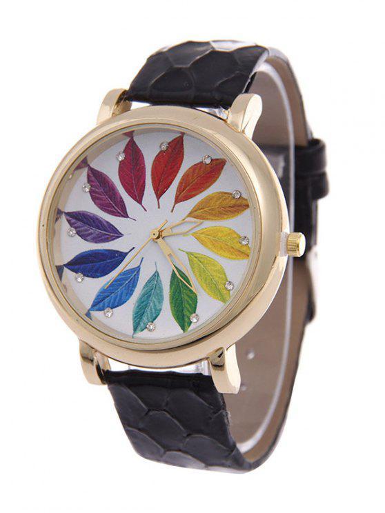 Montre à quartz ornée des strass et des feuilles multicolores - Noir