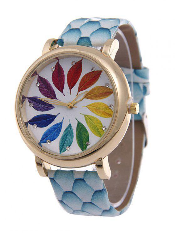 outfit Multicolored Tree Leaf Rhinestone Quartz Watch - AZURE
