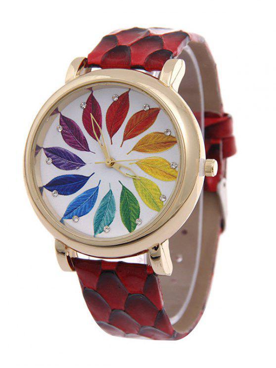 outfits Multicolored Tree Leaf Rhinestone Quartz Watch - RED