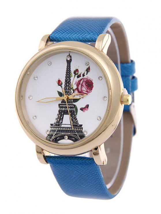 latest Eiffel Tower Floral Butterfly Rhinestone Watch - AZURE