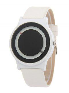 Faux Leather Sport Watch - White