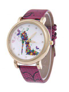Flower Rhinestone High Heel Quartz Watch - Rose Red