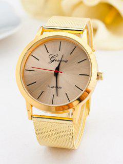 Steel Band Analog Quartz Watch - Golden